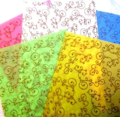 A4 Coloured Vellum Papers Embossed with Gold Scrolls 10 sheets 2 of each colour