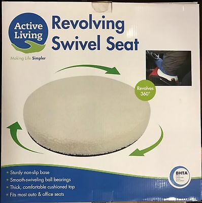 Fleece Padded Mobility Swivel Seat For Cars & Chairs. Non-slip Rotating, Cushion