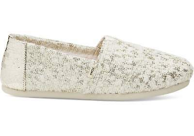 8777c25ba01a TOMS Women s 10013061 Alpargata White Gold Holiday Slub Woven Espadrille  Shoes