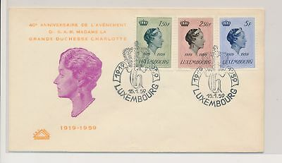 LJ39467 Luxembourg 1959 grand duchess Charlotte FDC used
