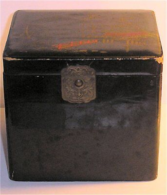 Japanese Meiji Period Papier Mache Lacquered Tea Caddy, Original Lining