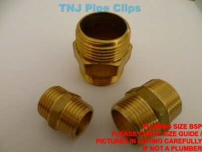Brass Hexagon Nipple - Various Sizes BSP - Male to Male Hex