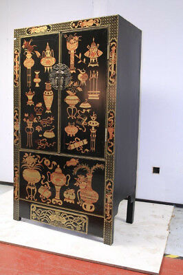 Large, hand painted late Qing style wardrobe/cabinet **Broken Hinge**