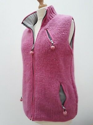 Pachamama pink chunky knit wool zip-front, fleece-lined gilet from Nepal, M/L 14