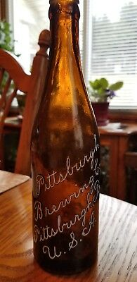 """Vintage PITTSBURGH BREWING  Beer Bottle Pittsburgh Pa.  Excellent 9 1/2"""" tall."""