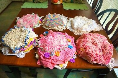 Lot of 70 Vintage Handmade Crocheted Small Doilies - Craft - Use - Resale