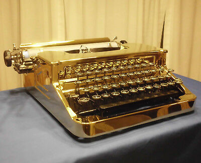 RESTORED TYPEWRITER '36 (SMITH-) CORONA FLATTOP: TRUE GOLD w/BLUE TURBOPLATEN --