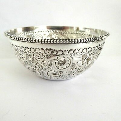 Vintage Floral Repousse  Sterling Silver Peppermint Bowl Weight 53 Grams Gleams