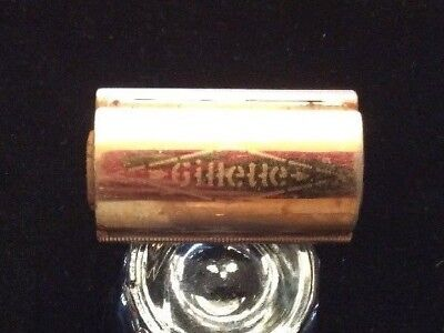 Vintage Gold Gillette Tech Ball 3pc 1950s Travel Razor & Blade