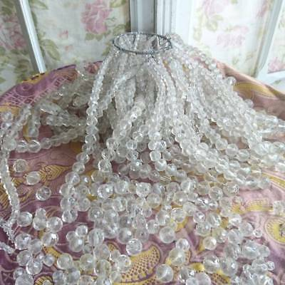 BATCH 100 DELICIEUX ANTIQUE FRENCH FACETED CRYSTAL CHANDELIER BEADS LATE 1800s