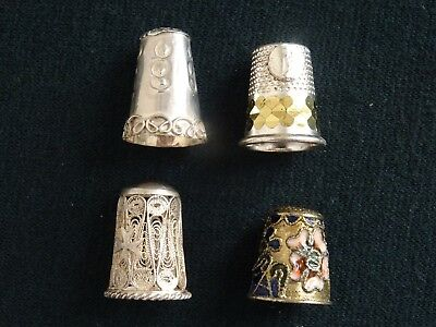 Mixed Lot 4 Assorted Sterling Silver Cloisonne Filigree Alloy Sewing Thimbles