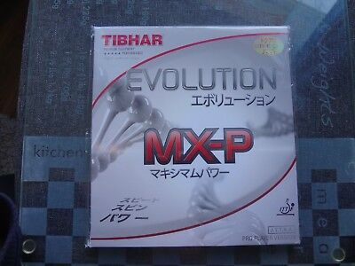 used table tennis rubber TIBHAR EVOLUTION MX-P  2.1mm red, new, not used, packed