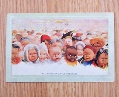 Vintage 1909 ALL  KINDS  OF  LITTLE  TROUBLE  POSTCARD Children Baby Posted ExC.
