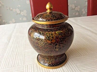 Beautifully Decorated Chinese Cloisonne Enamelled Lidded Jar