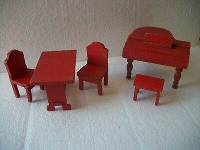 Vintage Red Painted Dollhouse Furniture  PIANO w BENCH TABLE CHAIRS Unmarked