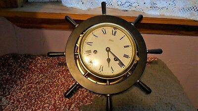 SCHATZ Ships Brass Wheel Clock Made in GERMANY -  No Key - Untested  -Sold As Is