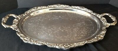 """Vintage Footed Silverplate Handled Serving Tray20"""" x 13"""""""