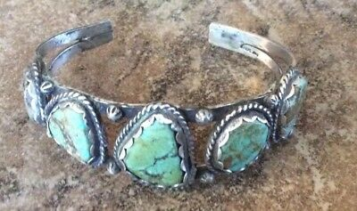 Vintage Turquoise *number 8* Mine Row Cuff Bracelet*sterling