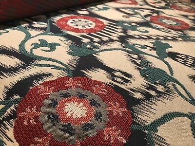 "STROHEIM ""Anthropology"" Caliente Red Flamestitch Bohemian Wovens Fabric BTY"
