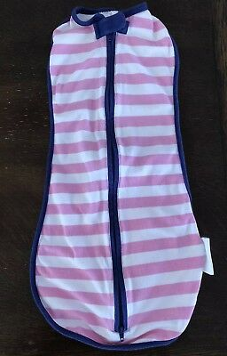 WOOMBIE Original Newborn 5-13 LBS Wearable Swaddle Swaddler Pink Navy Stripe