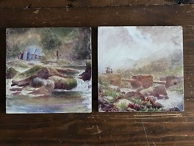 Pair of Antique Craven Dunnill Hand Painted Tiles c.1870's 15.5cm