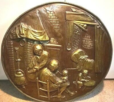 """Vintage Brass Embossed Wall Plaque/Charger Large 20"""" Victorian Family Scene"""