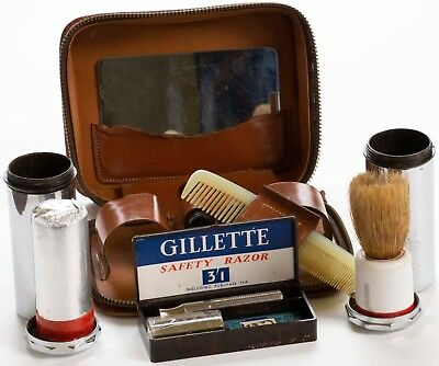 Late 1940s British Gillette DE Tech Razor in Leather Travel Set