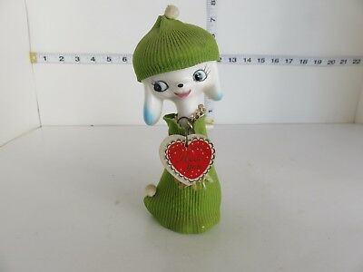 Vintage Japan I Love You Poodle With Cloth Green Toque And Coat Kitsch