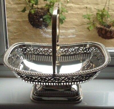 "Silver plated pierced  basket , epns , 10.5"" x 8"""