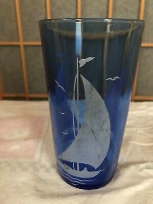 matching Hazel Atlas blue sailboat glass for your cocktail shaker