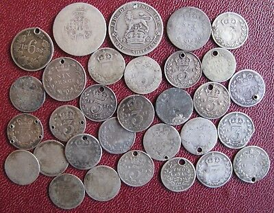 Job lot GB pre 1920 Sterling Silver mostly 3 pences Scrap 53g