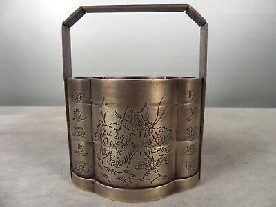 Antique Chinese Brass Basket Signed