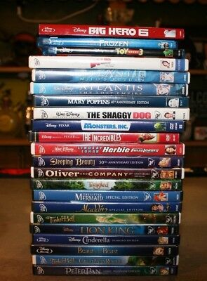 Lot 22 Disney Movies DVD Blu-ray Mary Poppins Incredibles Sleeping Beauty Frozen
