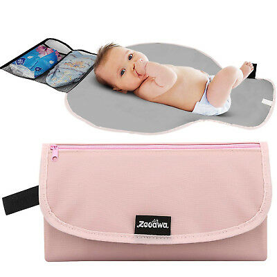 Baby Diaper Changing Pad Portable Travel Diaper Changing Mat Station Clutch Pink