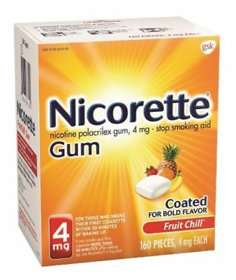 Nicotine Polacrilex Gum 4 mg Fruit Chill 160 Pieces Nicorette Exp 03/21 New
