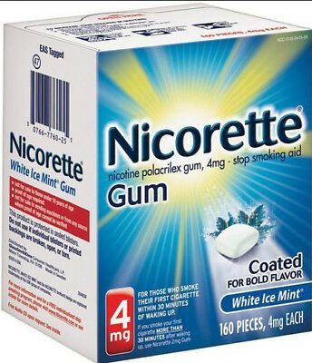 Nicotine Polacrilex Gum 4 mg White Ice Mint 160 Pieces Nicorette Exp 01/21 New