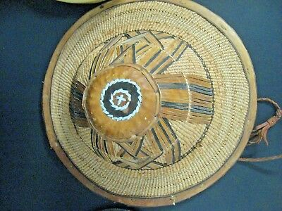 Vintage African Hat Woven Straw  Leather Conical Rice Paddy Farmer Coolie Hat