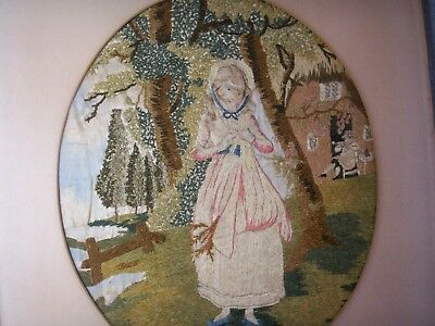 Old Antique Georgian English Silk Embroidery Country Girl Cottage 1810 Tapestry