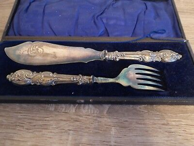 Large Vintage EPNS Silver plate fish servers knife and fork, boxed