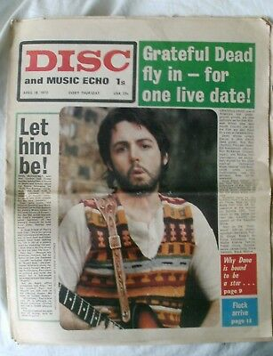THE BEATLES PAUL McCARTNEY FRONT COVER DISC & MUSIC ECHO NEWSPAPER APRIL 18 1970