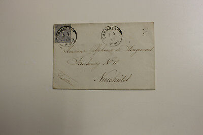Brief,gel.1869 aus Darmstadt nach Neuchatel
