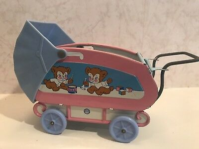 Vintage 1950's Ohio Art Company Toy Pink Blue Metal Doll Baby Buggy Carriage EVC