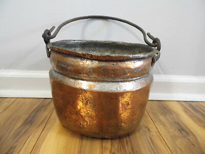 Large Antique Copper Bucket Wrought Iron Handle Kindling Coal Riveted Brazed