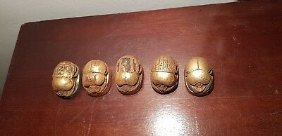 Rare Antique Ancient Egyptian 5 Scarabs good luck Hiroglyphic 1650-1520BC