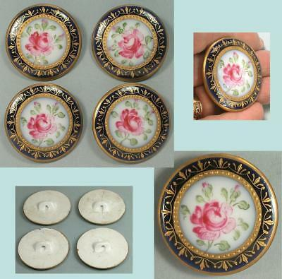 4 Gorgeous Large Antique Hand Painted Porcelain Buttons * French * Circa 1890s
