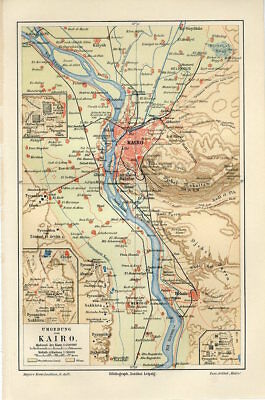 1897 EGYPT CAIRO CITY and OUTSKIRTS GIZA PYRAMIDS Antique Map
