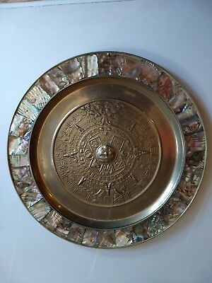 Antique Genuine Azteca brass plate with abalone shell