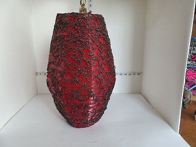 Vintage Mcm Eames Era Spaghetti Red And Black Plastic Swag Lamp Excellent