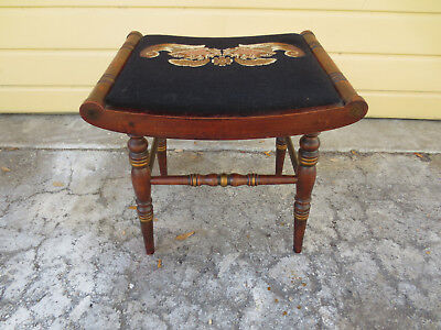 Vintage L. Hitchcock wooden vanity stool with needlepoint seat Federal style