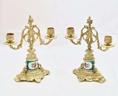 Beautiful Pair Of Antique French Bronze & Sevres Porcelain 2 Branch Candelabras